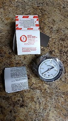 "New HARVARD 60 PSI Air Pressure Gauge 0-60 PSI  Rear/Back Mount Brass 1/4"" NPT"