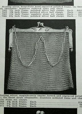 1910 Mesh Bags Purses antique Ladies' German Siver gold filled x3 ad pages