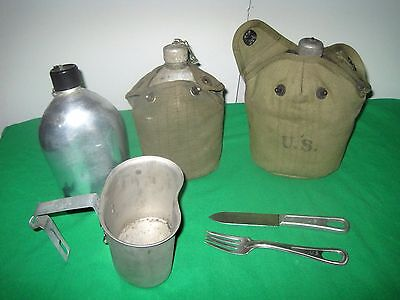 Vintage Lot of WWII Items. 3 Canteens. Cup, Fork, Knife. 1918,43,44. US & Japan.