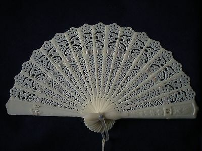 "Vintage 4"" White Off-White Celluloid Plastic Ribbon Folding Cutout Fan Beautiful"