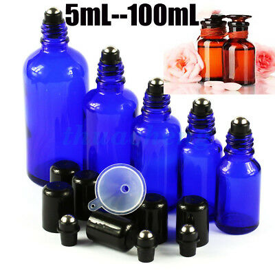 5~~100ML Blue Thick Glass Roll on Bottles Black lid Perfume Essential Oil Roller