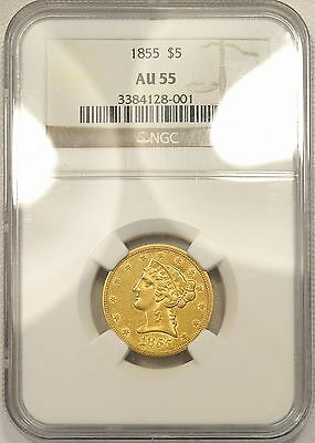 1855 NGC AU55 $5 gold half eagle, great original looking piece w/lots of luster