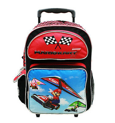 "Nintendo Mario Kart 7 Boys & Girls 16"" Canvas Red School Rolling Backpack"