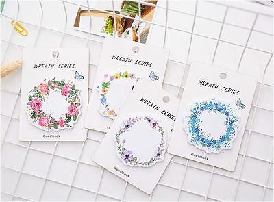 Set of 4 - 30pages Flower Wreath Memo Stick/ Post-it note/ Sticky Memo Paper
