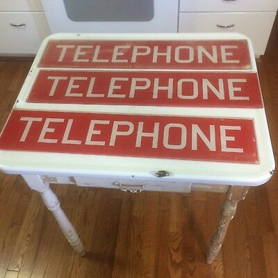 Vintage Phone Booth Sign 6 Glass Red And White Blue And White • $150.00