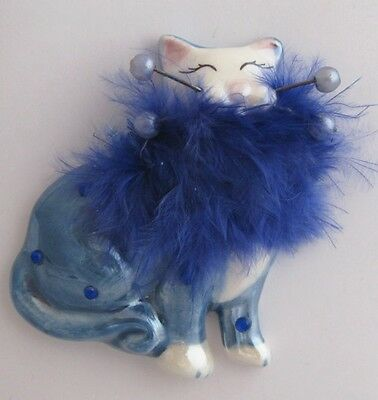 "Ceramic Cat Pin ""Lucie"" by Whimsiclay Artist Amy Lacombe, Blue"