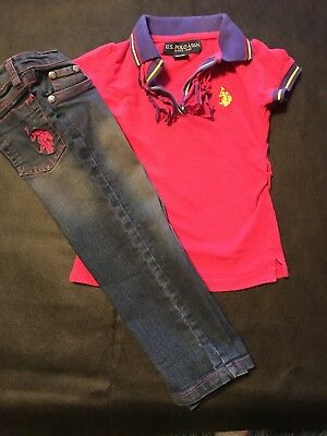 Girls Size 3 Us Poll Shirt And Jeans Outfit