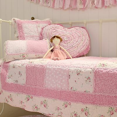 Shabby Chic Mia Girls Baby Cot Quilt Vintage Patchwork Crib Bedding