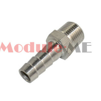 """Stainless Steel 1/4"""" Male Thread Pipe Fitting to 8mm barb Hose Tail Connector UK"""