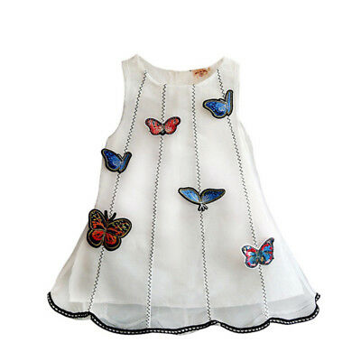 Baby Girls Butterfly Princess Dress Kids Party Tulle Vest Dress Solid Tutu Skirt