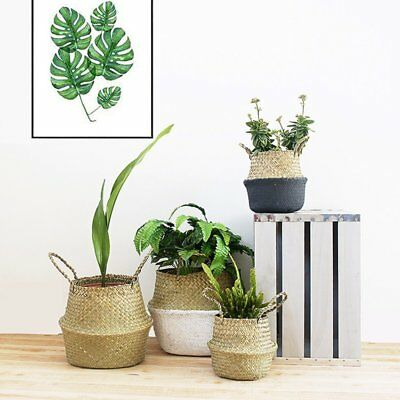 Foldable Seagrass Belly Basket Storage Plant Pot Nursery Laundry Bag Decor Room