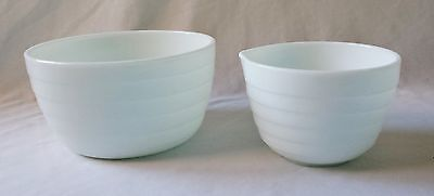 Vintage C1940's Elcon Beehive Large And Small Milk Glass Mixing Bowls