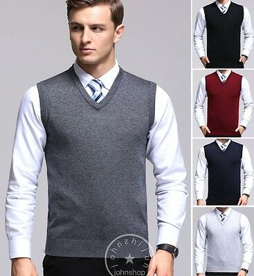 Mens Slim Fit Knitted Tank Top Sleeveless Sweater Vest Pullover Size S-XL