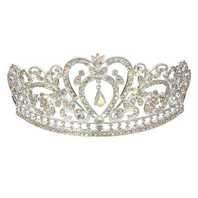 Colorful Clear Austrian Rhinestone Crystal Tiara Crown Bridal Pageant Headpiece