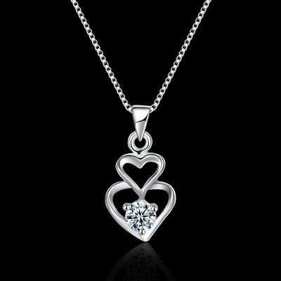 Fashion Women's 925 Sterling Silver Double heart CZ Pendant Necklace Chain