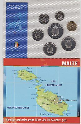 Malta 7 Coin Set In Near Mint Condition Dated 2001 To 2006