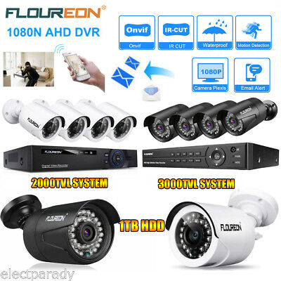 8CH 1080P/N ONVIF AHD DVR Outdoor 2000/3000TVL 2MP CCTV Camera Security System