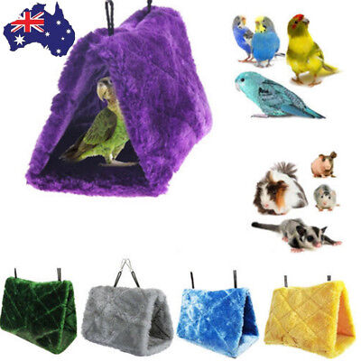 Bird Parrot Hammock Hanging Cave Cage Plush Snuggle Happy Hut Tent Bed Bunk Toy