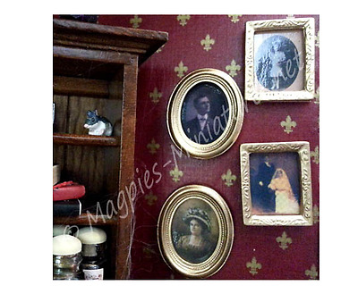 Dolls House Spooky antique Pictures in frames  - Pack of 4 Assorted halloween