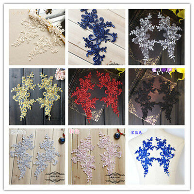 Free Shipping A Pair Floral lace Applique / decorative sewing lace motif DIY