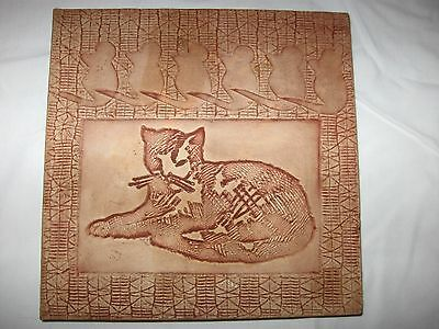 Handcrafted Cat Art Tile 1980 CATPAW Pottery Incised Cat & Mice Wall Hanging