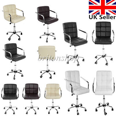 Swivel Office Chair PU Leather Adjustable Computer Desk Armchair High Back New