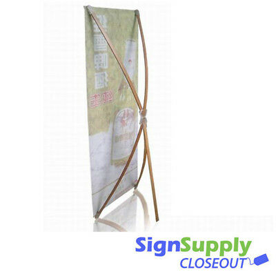 Bamboo X-Banner Stand for Banner Display, 2 ft x 5 ft, Lightweight Portable