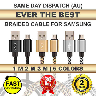 1M-2M-3M Strong Braided Micro USB Charger Cable For Samsung S6 S7 Edge LG HTC