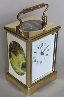 GRANDE L'EPEE CARRIAGE CLOCK painted enamel panels