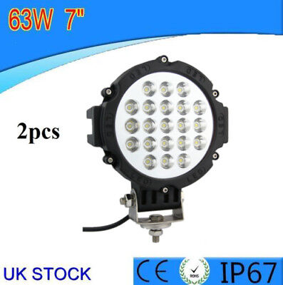 2x 12V 24V LED WORK LAMP SPOT LIGHT 63W OFFROAD TRUCK SPOT SUV CAR ATV BOAT BAR