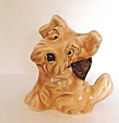 SYLVAC Pottery #1119 - CARICATURE DOG FIGURINE - SEALYHAM WITH BOW - Excellent