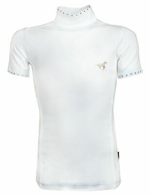 RED HORSE Crystal Button White Competition Shirt - 'Sunlight' - White