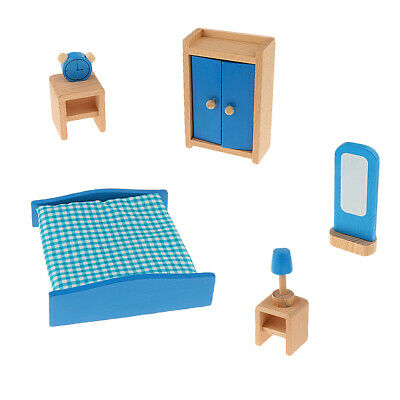 Wooden Dolls House Miniature Room Furniture SET Kids Pretend Play Toys 6 Types