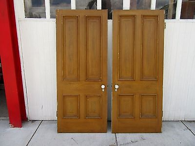 ~ Two Antique   Grain Painted  4- Panel Doors  ~  Architectural Salvage  ~