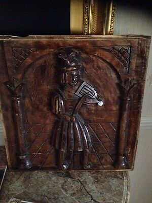 Medieval Style Carved Wood Panel Of Musician