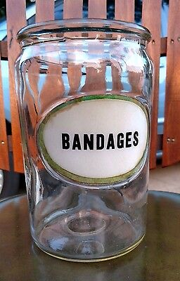 Antique Bandages Jar Vintage Apothecary Sundry Glass