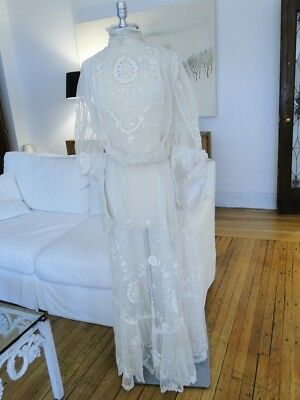 Antique Lace-Circa 1890-1900 Ladies Edwardian Era Lace Gown