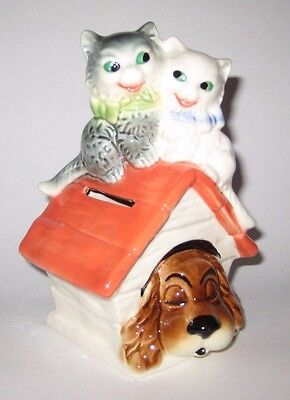 Kitty CATS on DOGHOUSE Roof w/DOG Vintage GOEBEL GERMANY Piggy BANK