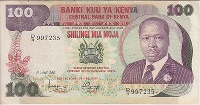 KENYA BANKNOTE P# 23 a 100 SHILLINGS  1980  VERY FINE  USA SELLER