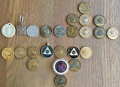 24 Coin LOT NA AA Dr.BOB & Bill W.Camel,Recovery Colors Gold,Brass,Bronse Silver