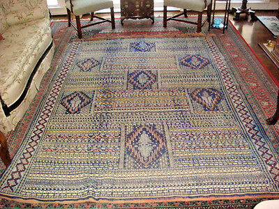 """Antique Woven Coverlet/Rug  @18th Century 6'10"""" x 9'4"""" Heavy Weight OFFER"""
