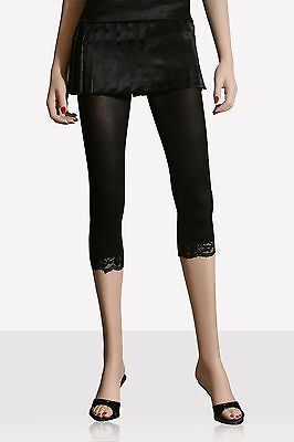 "Hot Topic Opaque 2"" Lace Trim Capri Leggings Footless Tight"