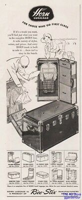 1949 Horn Luggage Rice Stix Mfg St Louis MO First Class Trunks Suitcase Print Ad