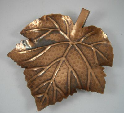 Vintage India Hammered Copper Maple Leaf Candle Holder Plate Trinket Dish