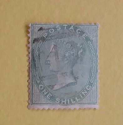 Great Britain Queen Victoria 1856 One Shilling Green Used C/V $375 +