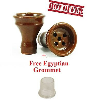 New LARGE Egyptian Clay Hookah Bowl Head With Grommet- Small Medium Large Hookah