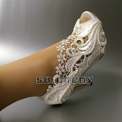 """3"""" 4"""" heel satin white ivory lace pearls open toe Wedding shoes bride size 5-11"""