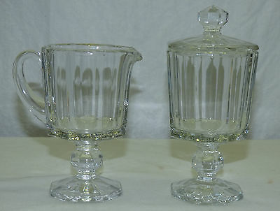Vintage Octagonal Clear Glass Footed Creamer & Sugar Bowl Set Octagon