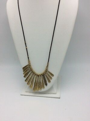 Lucky Brand leather strap gold tone paddle & feather statement necklace LC 154