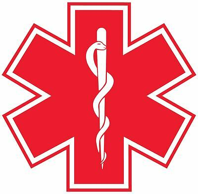 Star of Life Vinyl Sticker Decal Sign *SIZES* Red Medical Paramedic EMS EMT